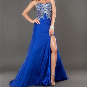 Jovani Strapless Gown Royal